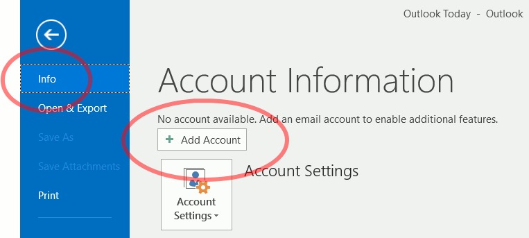 manual setup for a exchange account outlook 2016